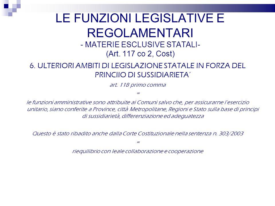 6. ULTERIORI AMBITI DI LEGISLAZIONE STATALE IN FORZA DEL PRINCIIO DI SUSSIDIARIETA art.