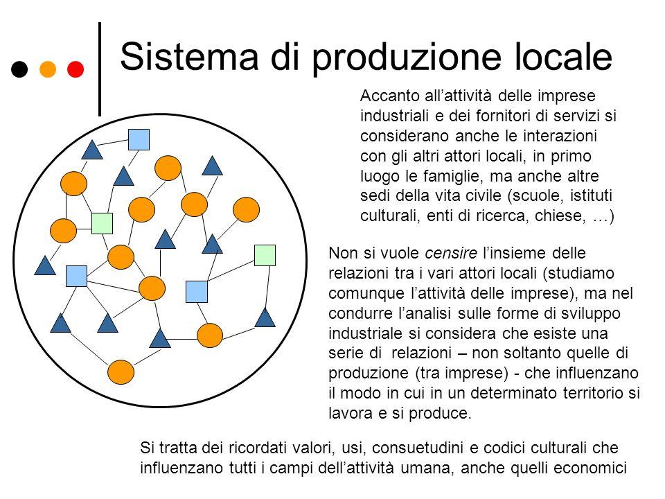 Sistema di produzione locale Accanto allattività delle imprese industriali e dei fornitori di servizi si considerano anche le interazioni con gli altr