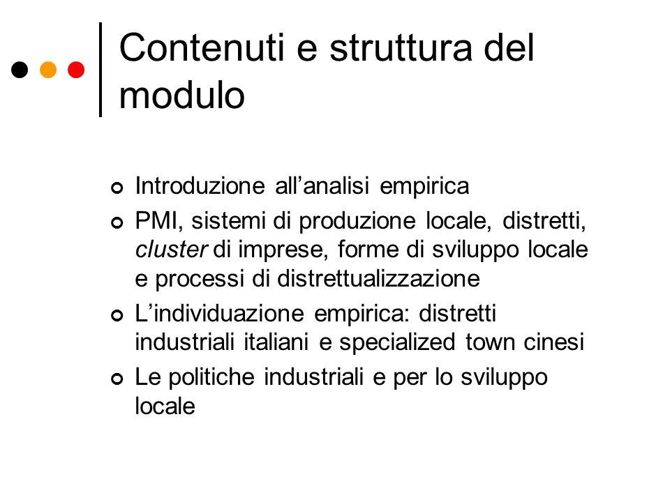 Contenuti e struttura del modulo Introduzione allanalisi empirica PMI, sistemi di produzione locale, distretti, cluster di imprese, forme di sviluppo