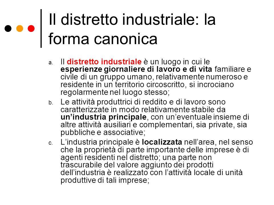 Il distretto industriale: la forma canonica a. Il distretto industriale è un luogo in cui le esperienze giornaliere di lavoro e di vita familiare e ci