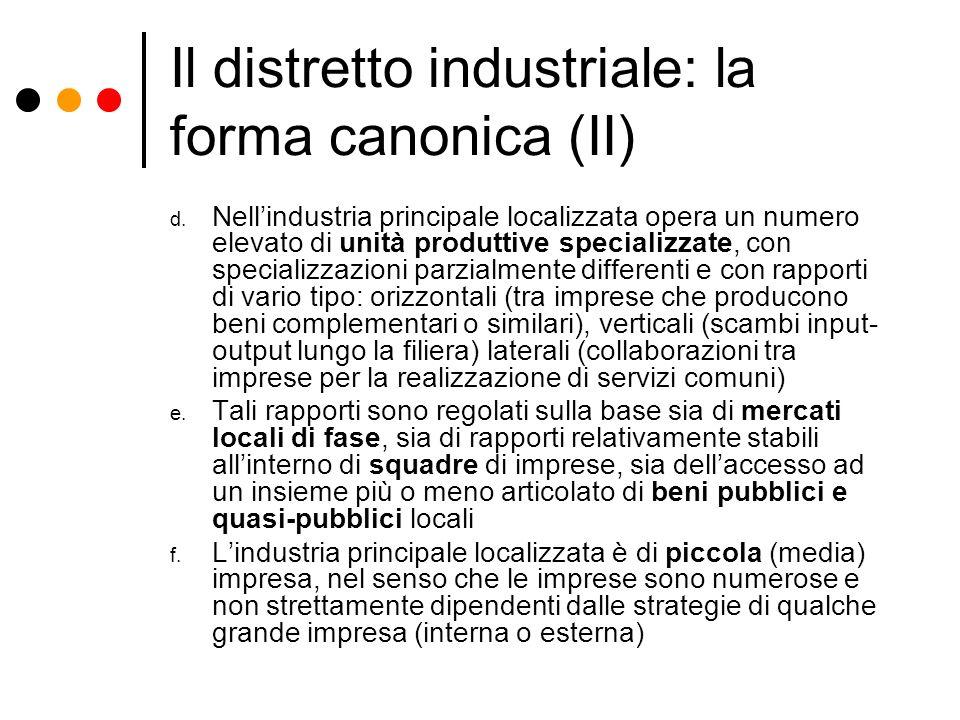 Il distretto industriale: la forma canonica (II) d. Nellindustria principale localizzata opera un numero elevato di unità produttive specializzate, co