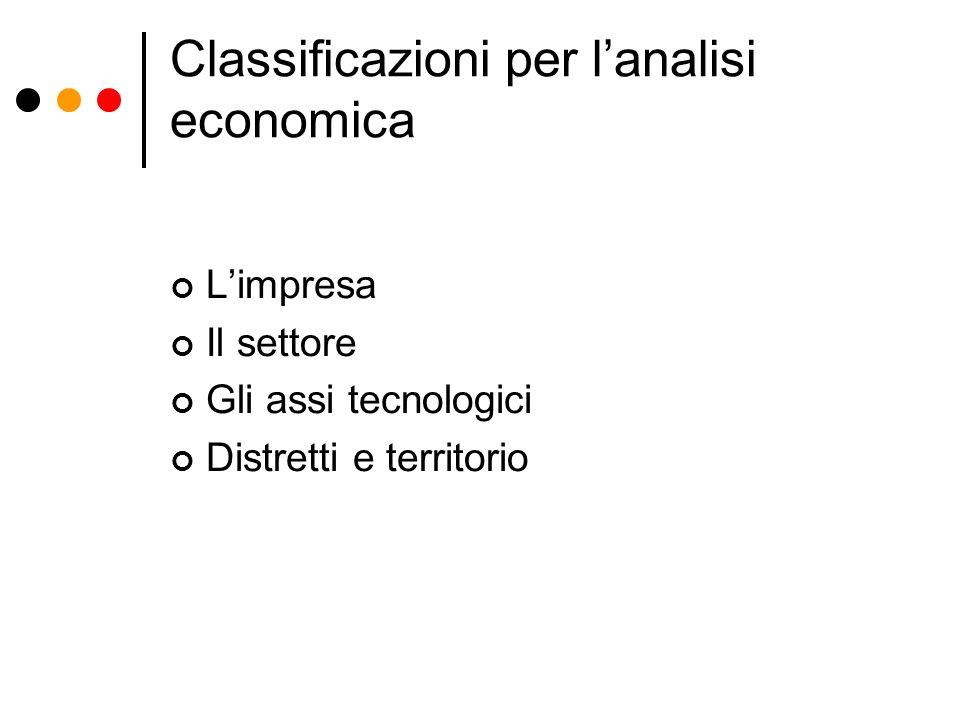 Classificazioni per lanalisi economica Limpresa Il settore Gli assi tecnologici Distretti e territorio