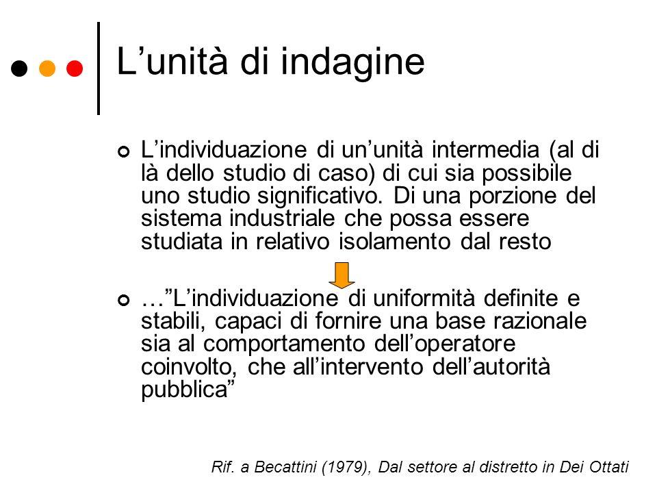 Lunità di indagine Lindividuazione di ununità intermedia (al di là dello studio di caso) di cui sia possibile uno studio significativo. Di una porzion