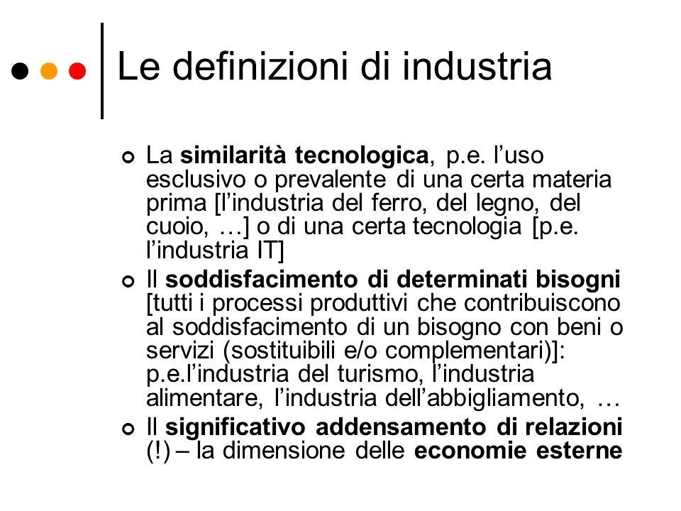 Le definizioni di industria La similarità tecnologica, p.e. luso esclusivo o prevalente di una certa materia prima [lindustria del ferro, del legno, d