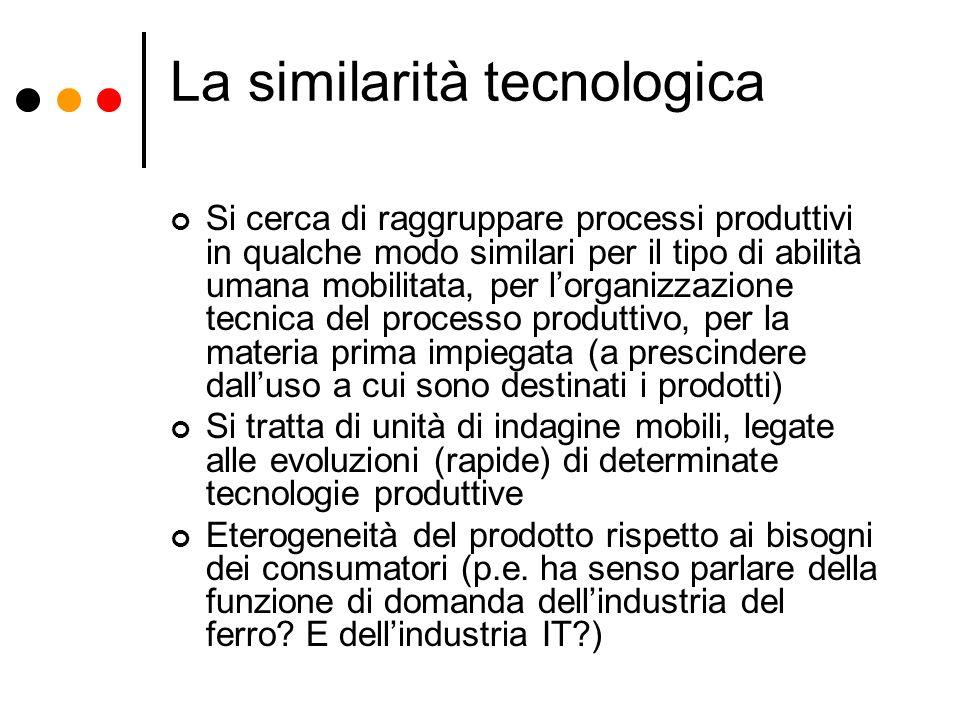 La similarità tecnologica Si cerca di raggruppare processi produttivi in qualche modo similari per il tipo di abilità umana mobilitata, per lorganizza