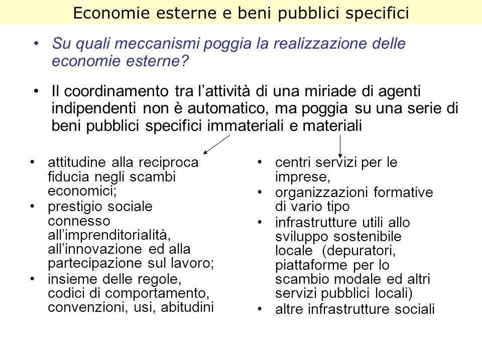 Su quali meccanismi poggia la realizzazione delle economie esterne? Il coordinamento tra lattività di una miriade di agenti indipendenti non è automat