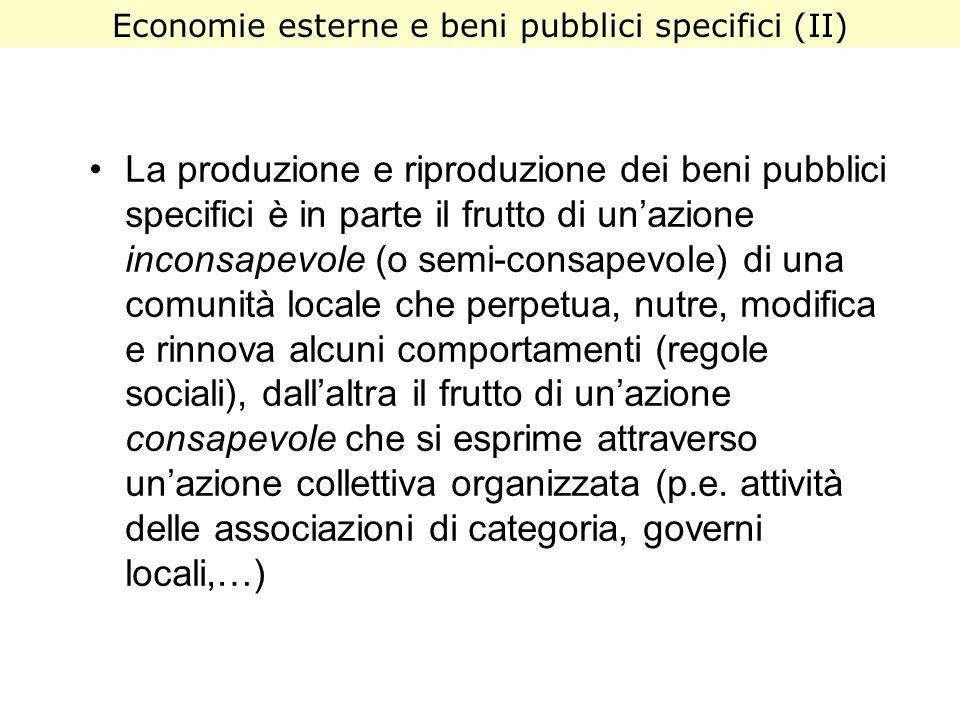 La produzione e riproduzione dei beni pubblici specifici è in parte il frutto di unazione inconsapevole (o semi-consapevole) di una comunità locale ch