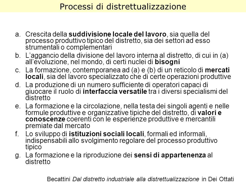 a.Crescita della suddivisione locale del lavoro, sia quella del processo produttivo tipico del distretto, sia dei settori ad esso strumentali o comple