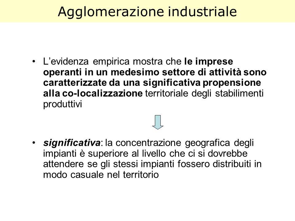 Agglomerazione industriale Levidenza empirica mostra che le imprese operanti in un medesimo settore di attività sono caratterizzate da una significati