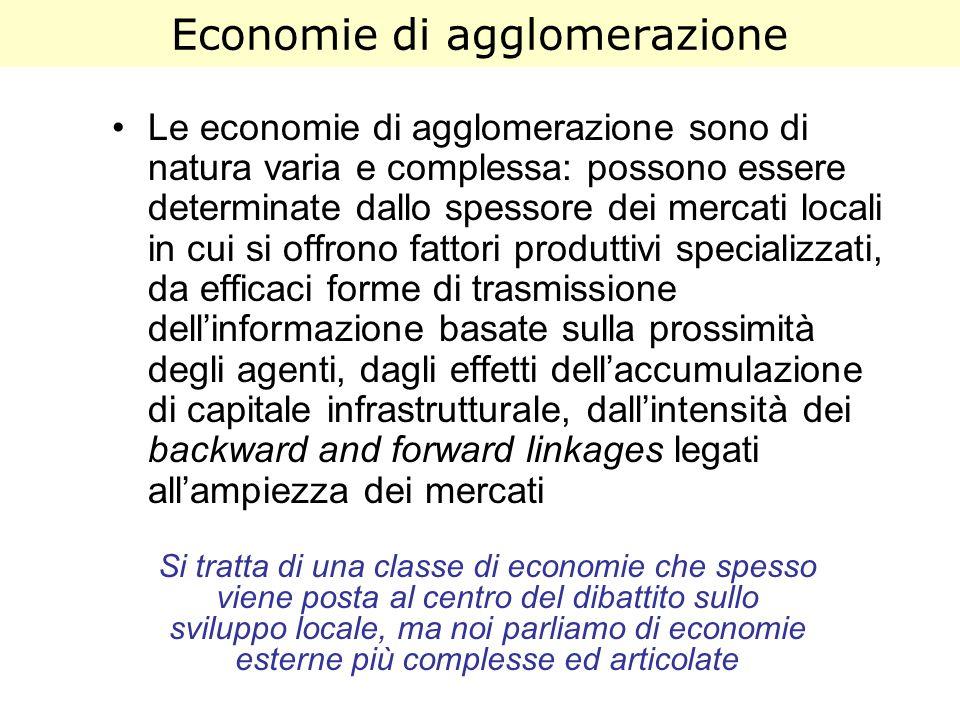Economie di agglomerazione Le economie di agglomerazione sono di natura varia e complessa: possono essere determinate dallo spessore dei mercati local