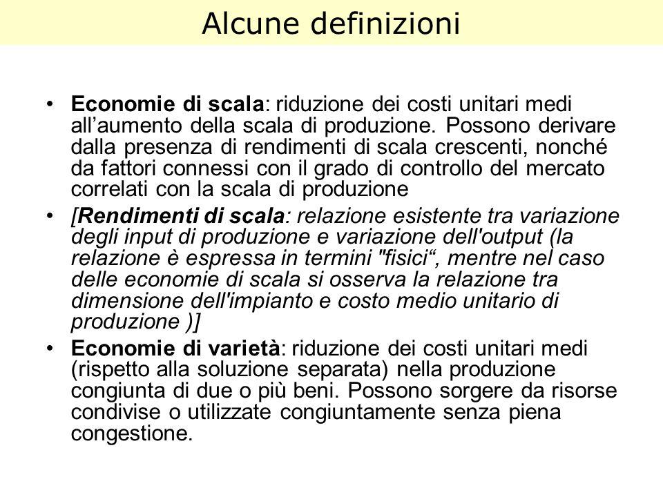 Alcune definizioni Economie di scala: riduzione dei costi unitari medi allaumento della scala di produzione. Possono derivare dalla presenza di rendim