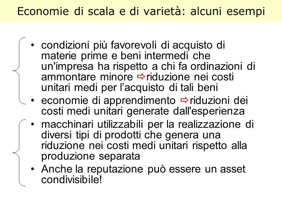 Economie di scala e di varietà: alcuni esempi condizioni più favorevoli di acquisto di materie prime e beni intermedi che un'impresa ha rispetto a chi