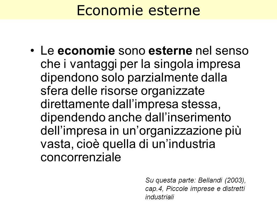 Economie esterne Le economie sono esterne nel senso che i vantaggi per la singola impresa dipendono solo parzialmente dalla sfera delle risorse organi