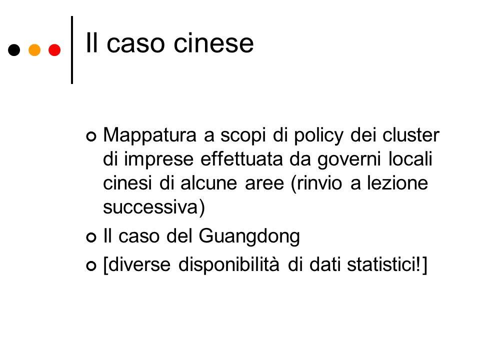 Il caso cinese Mappatura a scopi di policy dei cluster di imprese effettuata da governi locali cinesi di alcune aree (rinvio a lezione successiva) Il