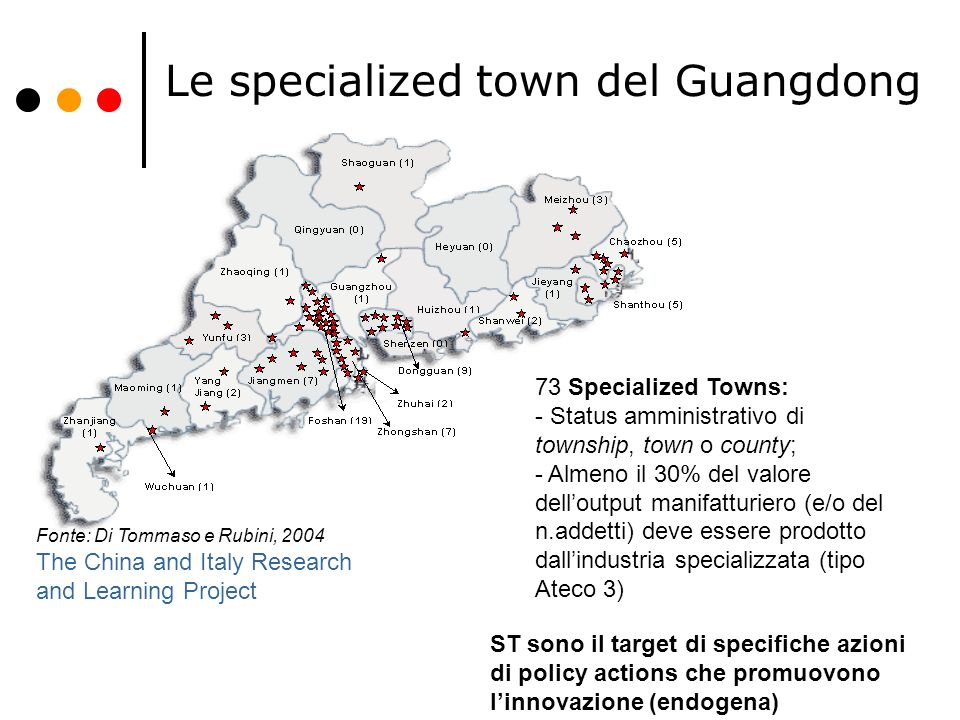 Le specialized town del Guangdong Fonte: Di Tommaso e Rubini, 2004 The China and Italy Research and Learning Project ST sono il target di specifiche a