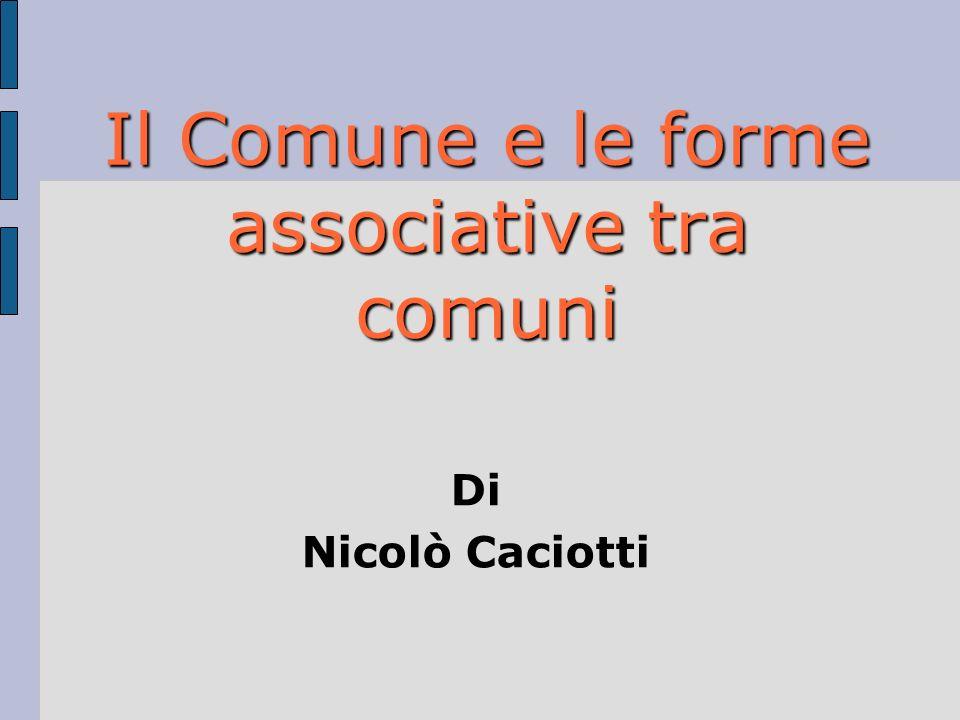 Il Comune e le forme associative tra comuni Di Nicolò Caciotti
