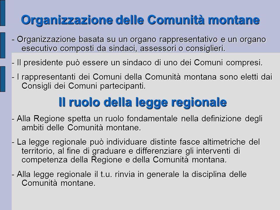 Organizzazione delle Comunità montane Organizzazione basata su un organo rappresentativo e un organo esecutivo composti da sindaci, assessori o consig
