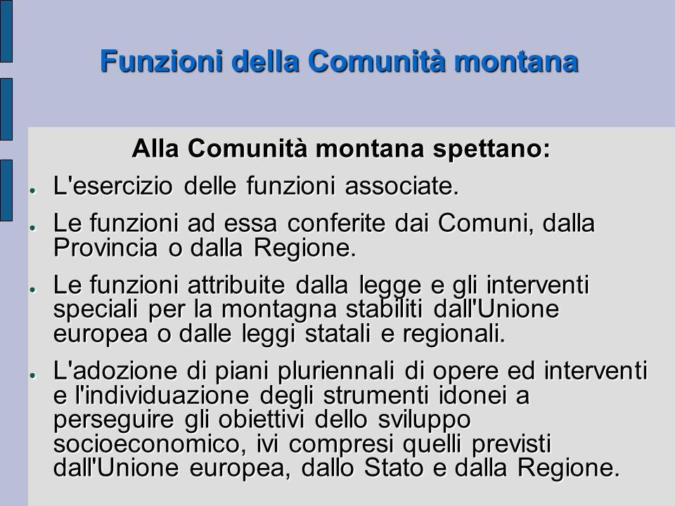 Funzioni della Comunità montana Alla Comunità montana spettano: L'esercizio delle funzioni associate. L'esercizio delle funzioni associate. Le funzion