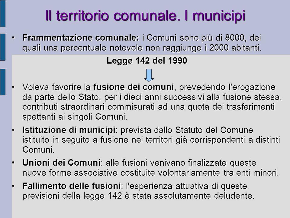 Il territorio comunale. I municipi Frammentazione comunale: i Comuni sono più di 8000, dei quali una percentuale notevole non raggiunge i 2000 abitant