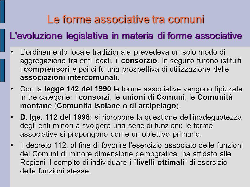Le forme associative tra comuni L'evoluzione legislativa in materia di forme associative Le forme associative tra comuni. L'evoluzione legislativa in