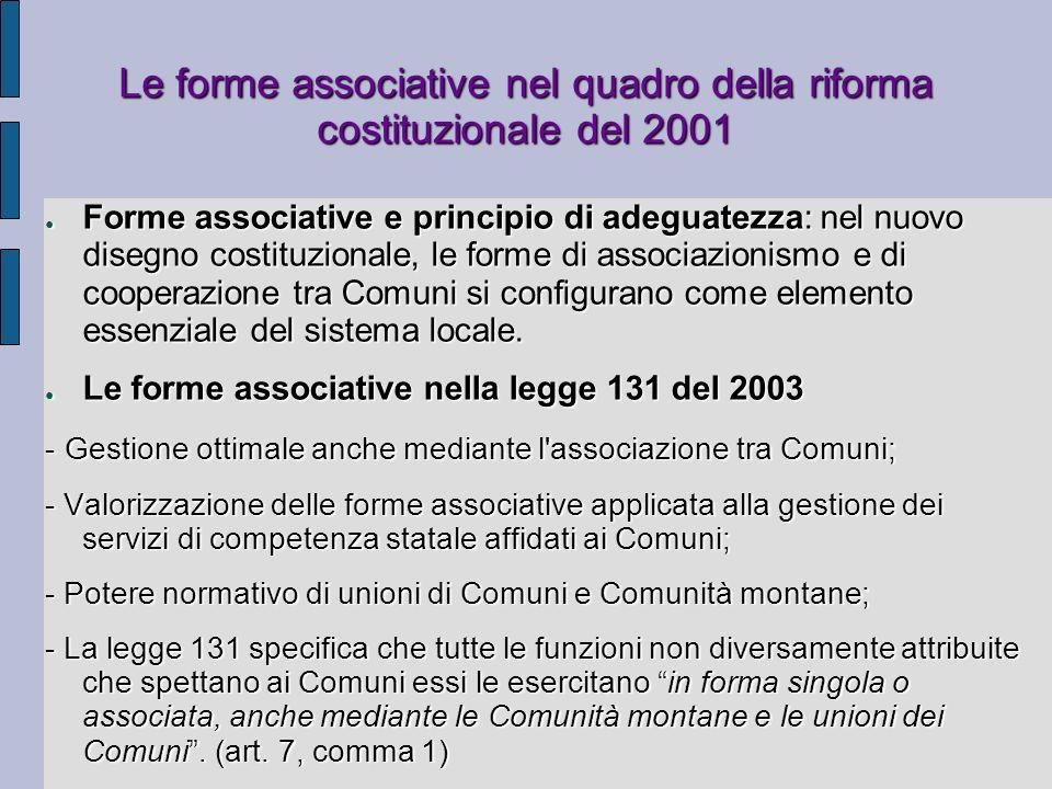 Le forme associative nel quadro della riforma costituzionale del 2001 Forme associative e principio di adeguatezza: nel nuovo disegno costituzionale,