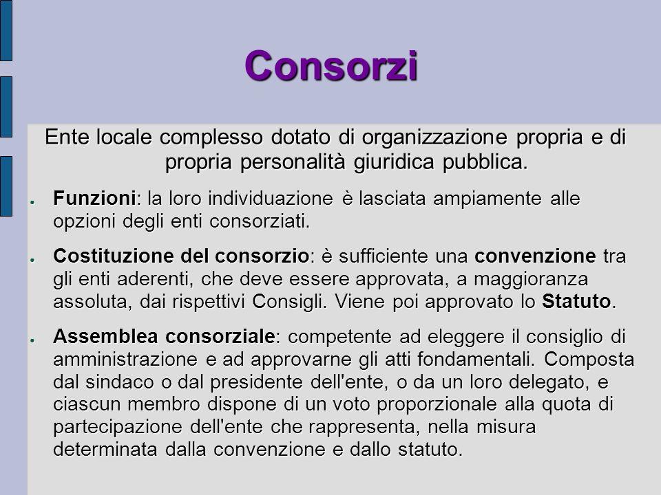 Consorzi Ente locale complesso dotato di organizzazione propria e di propria personalità giuridica pubblica. Funzioni: la loro individuazione è lascia