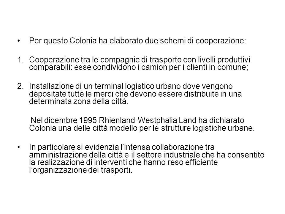 Per questo Colonia ha elaborato due schemi di cooperazione: 1.Cooperazione tra le compagnie di trasporto con livelli produttivi comparabili: esse cond