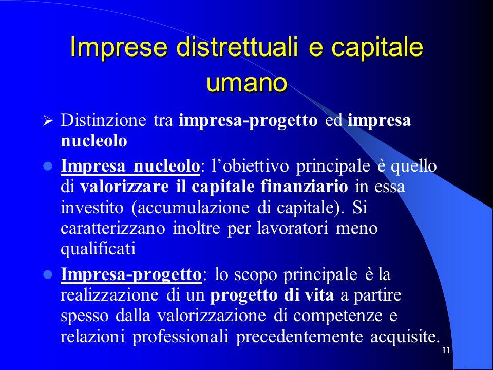 11 Imprese distrettuali e capitale umano Distinzione tra impresa-progetto ed impresa nucleolo Impresa nucleolo: lobiettivo principale è quello di valo