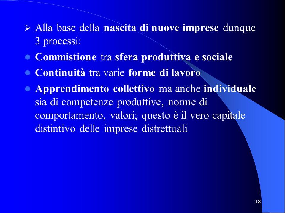 18 Alla base della nascita di nuove imprese dunque 3 processi: Commistione tra sfera produttiva e sociale Continuità tra varie forme di lavoro Apprend