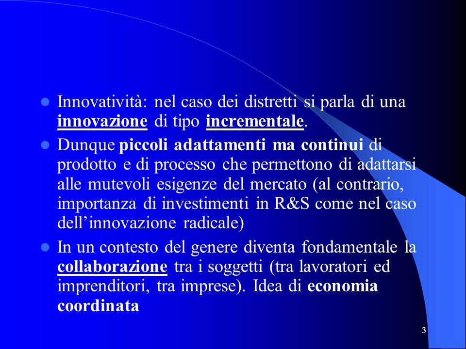 3 Innovatività: nel caso dei distretti si parla di una innovazione di tipo incrementale. Dunque piccoli adattamenti ma continui di prodotto e di proce