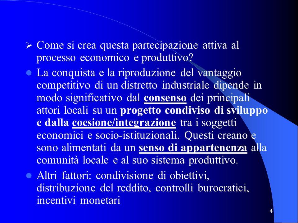4 Come si crea questa partecipazione attiva al processo economico e produttivo? La conquista e la riproduzione del vantaggio competitivo di un distret