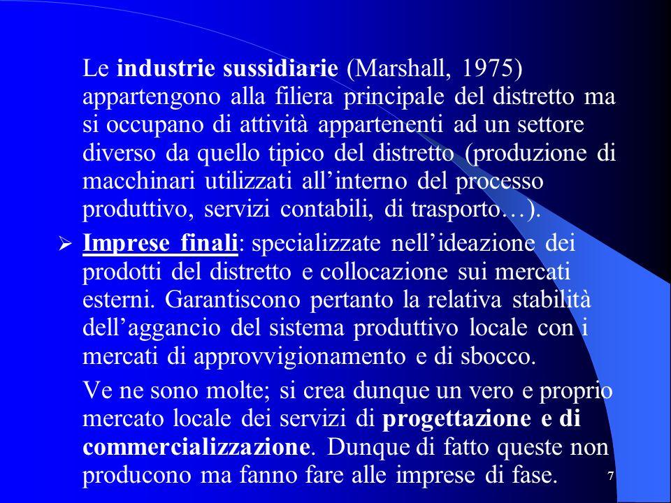7 Le industrie sussidiarie (Marshall, 1975) appartengono alla filiera principale del distretto ma si occupano di attività appartenenti ad un settore d