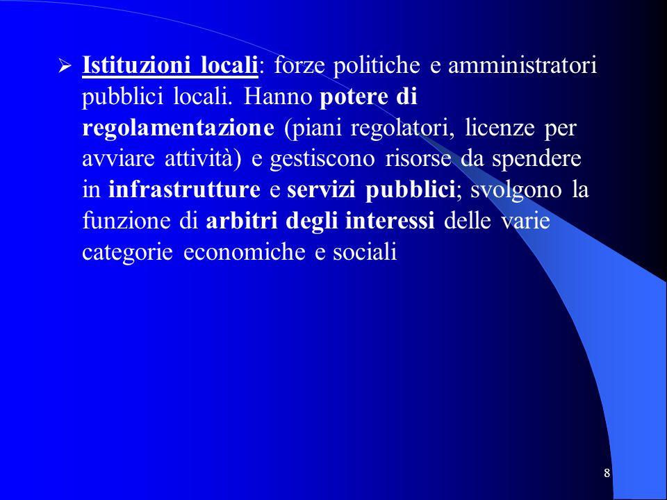 8 Istituzioni locali: forze politiche e amministratori pubblici locali. Hanno potere di regolamentazione (piani regolatori, licenze per avviare attivi