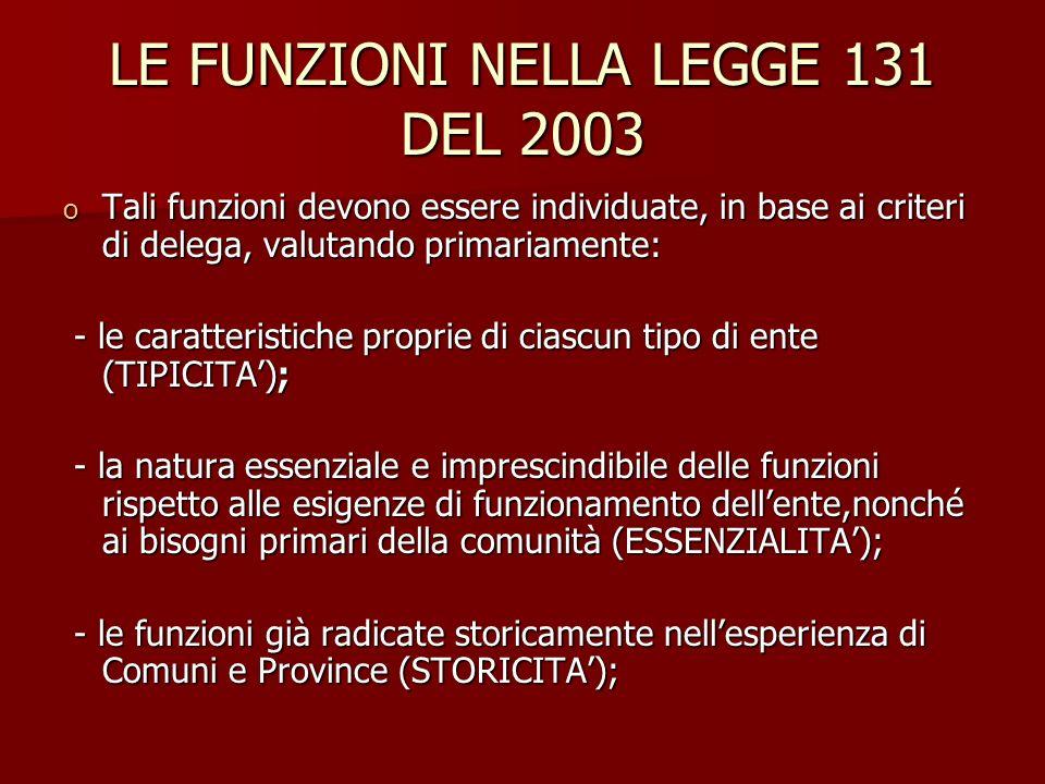 LE FUNZIONI NELLA LEGGE 131 DEL 2003 o Tali funzioni devono essere individuate, in base ai criteri di delega, valutando primariamente: - le caratteris