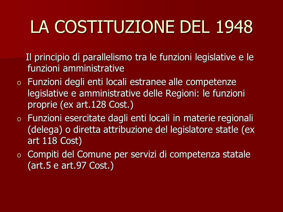 LA COSTITUZIONE DEL 1948 Il principio di parallelismo tra le funzioni legislative e le funzioni amministrative Il principio di parallelismo tra le fun