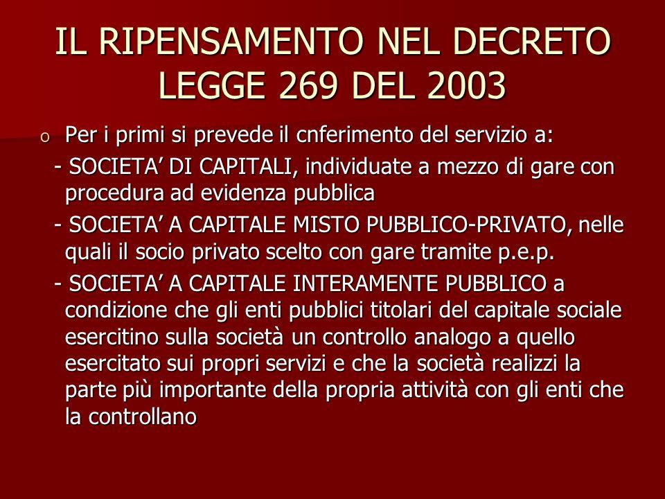 IL RIPENSAMENTO NEL DECRETO LEGGE 269 DEL 2003 o Per i primi si prevede il cnferimento del servizio a: - SOCIETA DI CAPITALI, individuate a mezzo di g