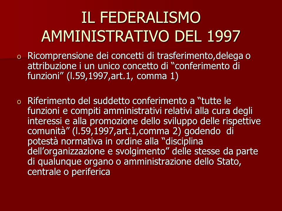 IL FEDERALISMO AMMINISTRATIVO DEL 1997 o Ricomprensione dei concetti di trasferimento,delega o attribuzione i un unico concetto di conferimento di fun
