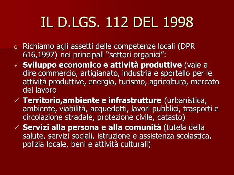 IL D.LGS. 112 DEL 1998 o Richiamo agli assetti delle competenze locali (DPR 616,1997) nei principali settori organici: Sviluppo economico e attività p
