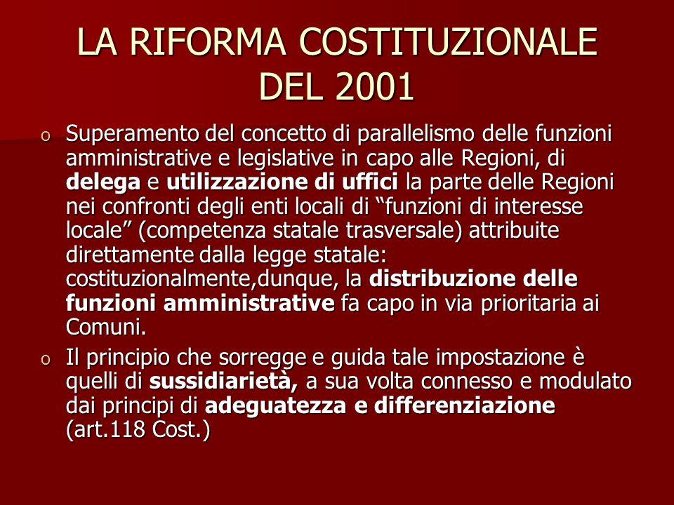 LA RIFORMA COSTITUZIONALE DEL 2001 o Superamento del concetto di parallelismo delle funzioni amministrative e legislative in capo alle Regioni, di del