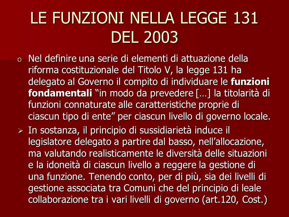 LE FUNZIONI NELLA LEGGE 131 DEL 2003 o Nel definire una serie di elementi di attuazione della riforma costituzionale del Titolo V, la legge 131 ha del
