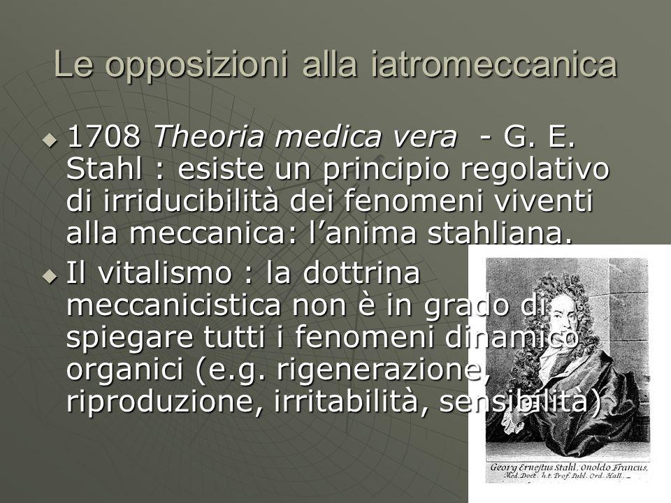 Le opposizioni alla iatromeccanica 1708 Theoria medica vera - G. E. Stahl : esiste un principio regolativo di irriducibilità dei fenomeni viventi alla