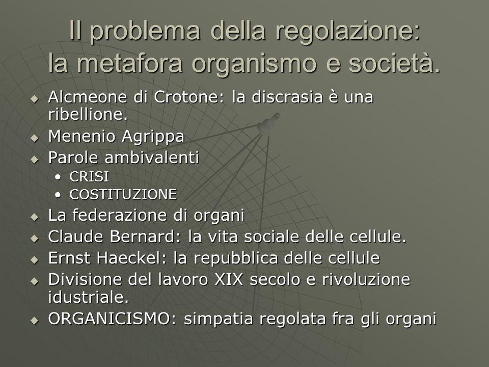 Il problema della regolazione: la metafora organismo e società. Alcmeone di Crotone: la discrasia è una ribellione. Alcmeone di Crotone: la discrasia