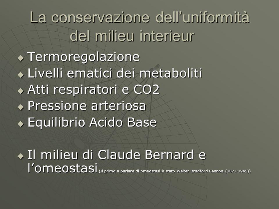 La conservazione delluniformità del milieu interieur Termoregolazione Termoregolazione Livelli ematici dei metaboliti Livelli ematici dei metaboliti A