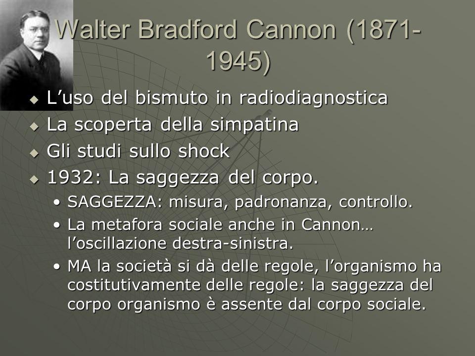 Walter Bradford Cannon (1871- 1945) Luso del bismuto in radiodiagnostica Luso del bismuto in radiodiagnostica La scoperta della simpatina La scoperta
