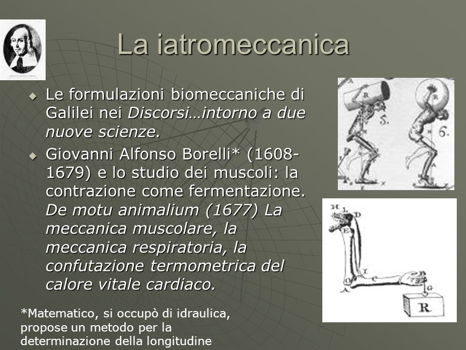 La iatromeccanica Le formulazioni biomeccaniche di Galilei nei Discorsi…intorno a due nuove scienze. Le formulazioni biomeccaniche di Galilei nei Disc