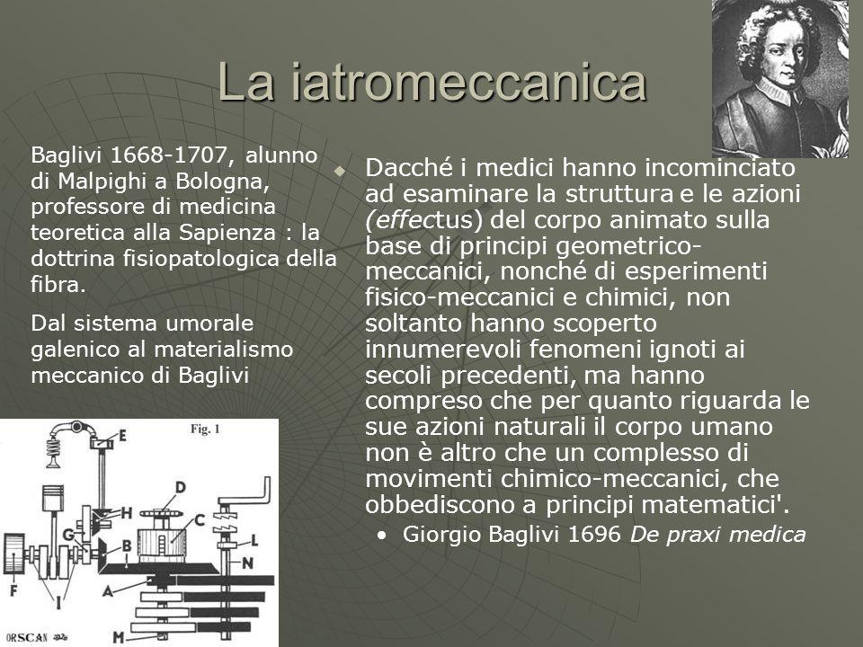 La iatromeccanica Dacché i medici hanno incominciato ad esaminare la struttura e le azioni (effectus) del corpo animato sulla base di principi geometr