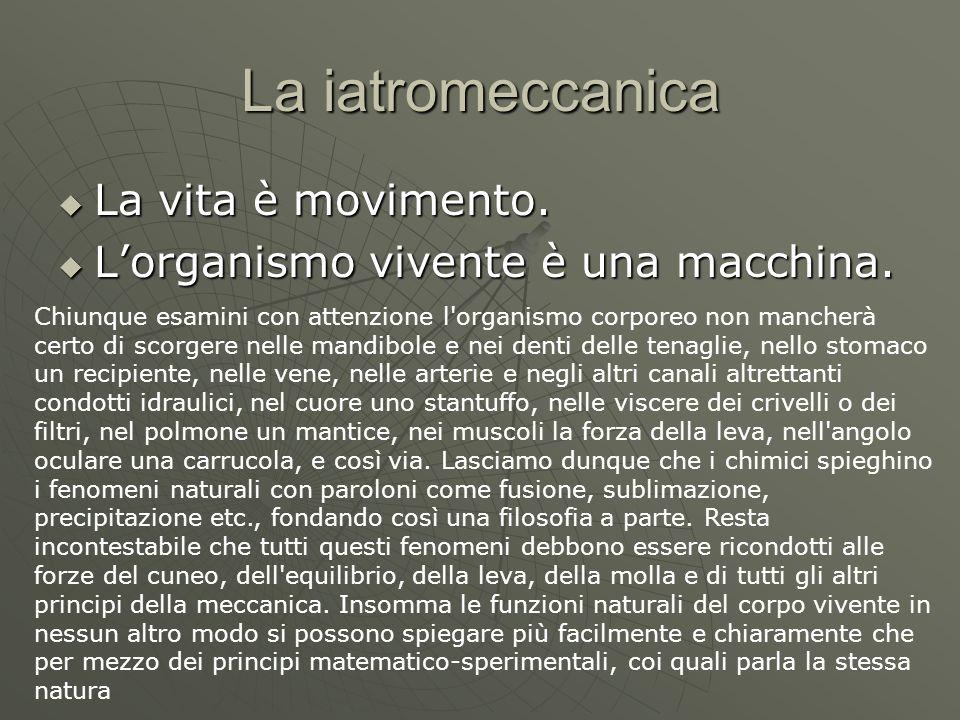 La iatromeccanica La vita è movimento. La vita è movimento. Lorganismo vivente è una macchina. Lorganismo vivente è una macchina. Chiunque esamini con