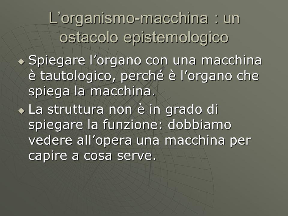Lorganismo-macchina : un ostacolo epistemologico Spiegare lorgano con una macchina è tautologico, perché è lorgano che spiega la macchina. Spiegare lo