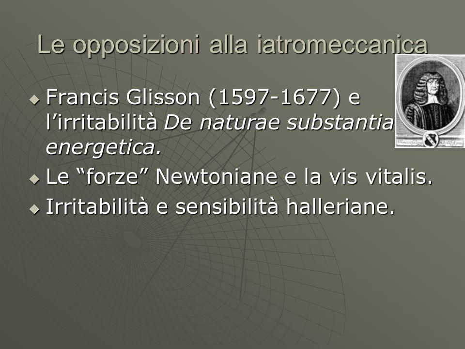 Le opposizioni alla iatromeccanica Francis Glisson (1597-1677) e lirritabilità De naturae substantia energetica. Francis Glisson (1597-1677) e lirrita