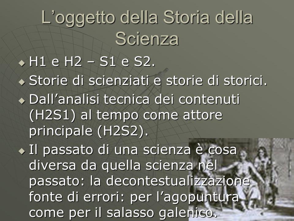 Loggetto della Storia della Scienza H1 e H2 – S1 e S2. H1 e H2 – S1 e S2. Storie di scienziati e storie di storici. Storie di scienziati e storie di s